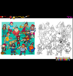 pirate characters group coloring book vector image