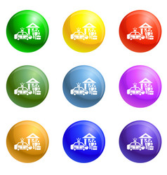police car icons set vector image