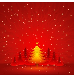 red christmas card with forest of pine vector image