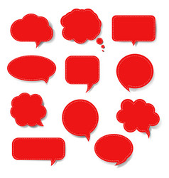 red speech bubble set isolated vector image