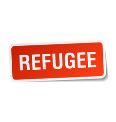 Refugee square sticker on white vector