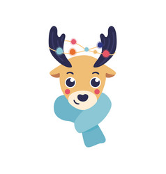 Reindeer head with warm vector