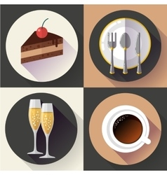 Restaurant and food icons set Flat design vector