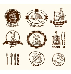 Restaurant label sketch vector