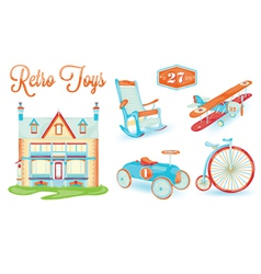 Retro toys Icons vector image