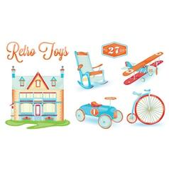 Retro toys icons vector