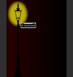 rue du canal sign with lamp vector image