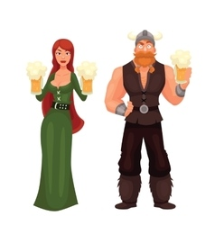 Scandinavian man and woman Required to have a beer vector image