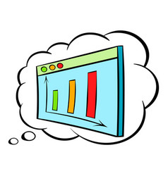 screen with graph in speech cloud icon cartoon vector image