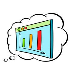 Screen with graph in speech cloud icon cartoon vector