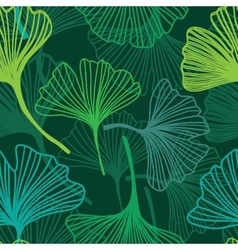 Seamless decorative flower background with ginkgo vector image
