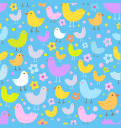 seamless pattern with cute funny cartoon birds vector image