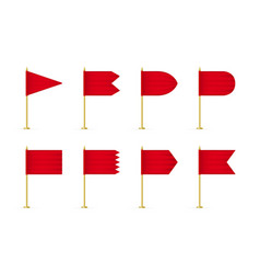 set red 3d flag mockup vector image