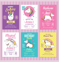 Set unicorn birthday invitation cards vector