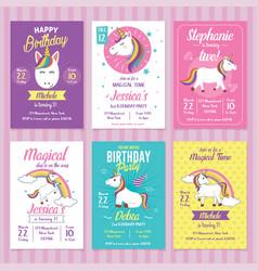 set unicorn birthday invitation cards vector image