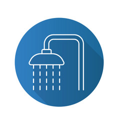 Shower flat linear long shadow icon vector