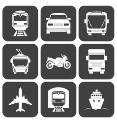 Simple monochromatic transport icons set vector image