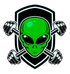 Sport emblem with alien head and crossed barbells vector