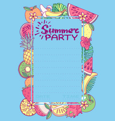 summer party card template vector image