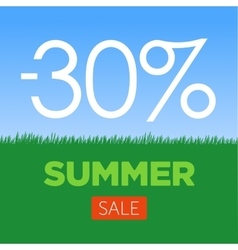 Summer Sale Banner with green grass and blue sky vector
