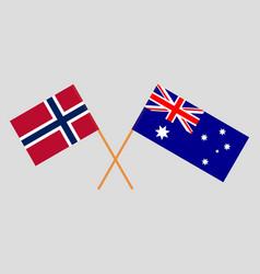 the australian and norwegian flags vector image