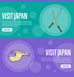 Visit japan travel company landing page template vector