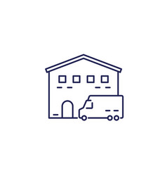 warehouse and van truck line icon vector image