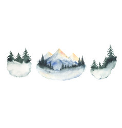 Watercolor set forest winter landscapes vector