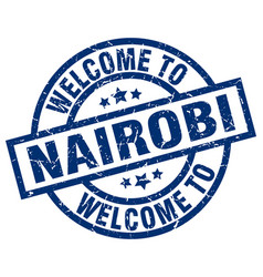 Welcome to nairobi blue stamp vector