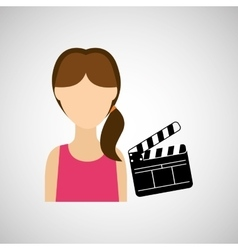 Woman cartoon clapper movie design vector