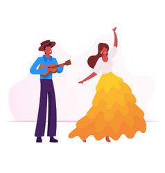young man playing ukulele guitar to girl dancing vector image