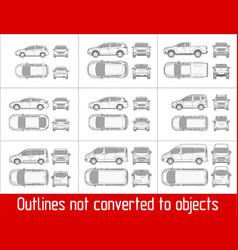 Car sedan and suv and van all view drawing vector