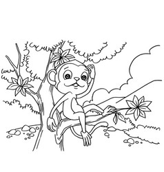 cartoon monkey playing in the forest coloring page vector image vector image
