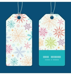 colorful doodle snowflakes vertical stripe frame vector image vector image