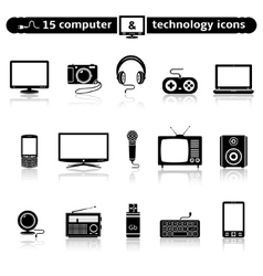 Computer and technology icon set vector image