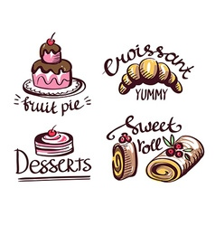 Label logo set for restaurant menu bakery and vector image vector image