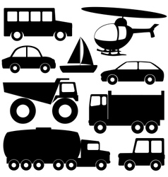 Set 2 of different transport silhouettes vector image
