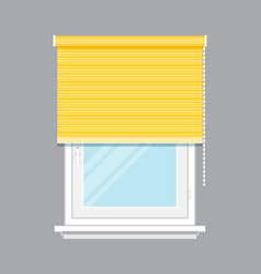 Window with yellow jalousie isolated vector