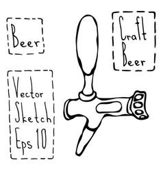 beer tap doodle style sketch vector image vector image