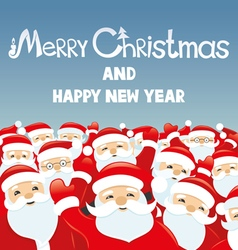 Cheerful Santa Clauses vector image vector image