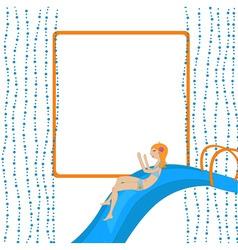 girl on the waterslide vector image