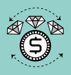 line diamond icon and bitcoin money currency vector image vector image