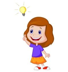 Little girl cartoon with big idea vector image