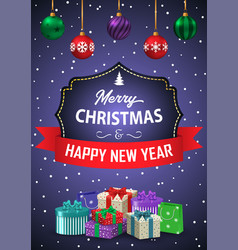 poster merry christmas and happy new year the vector image
