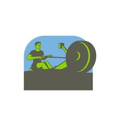 Rower Rowing Machine Half Circle Retro vector image vector image
