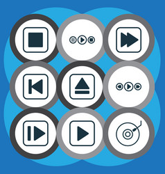 set of 9 audio icons includes gramophone vector image vector image