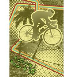 vintage urban grunge cyclist vector image