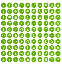 100 children icons hexagon green vector image vector image
