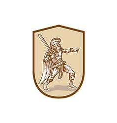 Centurion Roman Soldier Wielding Sword Cartoon vector image