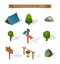 Isometric 3d forest camping vector image